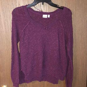 Eggplant V neck sweater